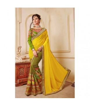 Yellow & Green Georgette Embroidered Saree
