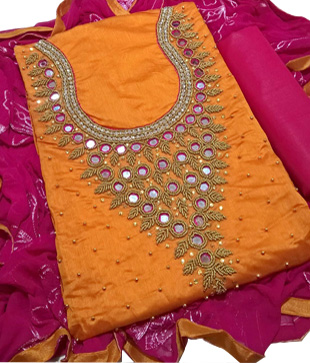 Chanderi Silk UnStitched Dress Material