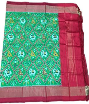 Green Silk Printed Ikkat Handloom Duppatta