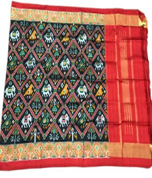 Black Silk Printed Ikkat Handloom Duppatta