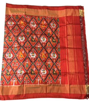 Red Silk Printed Ikkat Handloom Duppatta