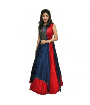 Taffeta Silk Embroidered Gown