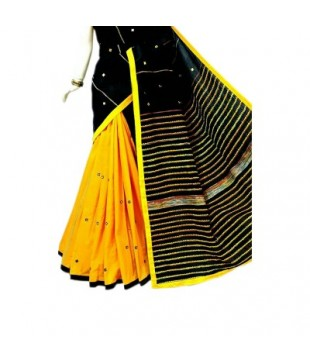 Cotton Khes Mirror Worked Saree