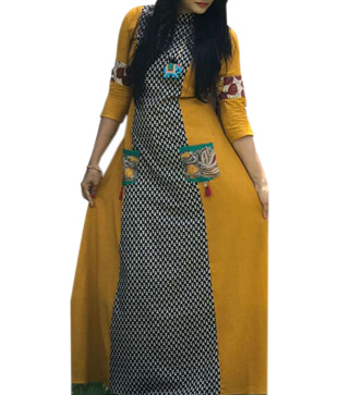 Pure Cotton Slub Printed Flared Kurta