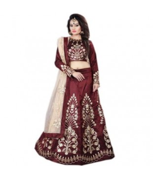 Dupion Embroidered Semi Stitched Lehenga Choli
