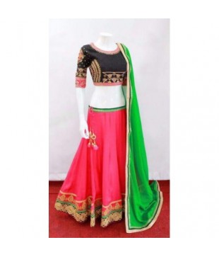 Bridal Silk Embroidered Semi Stitched Lehenga Choli