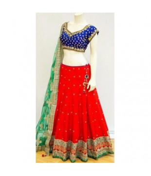 Chennai Silk Embroidered Semi Stitched Lehenga Choli