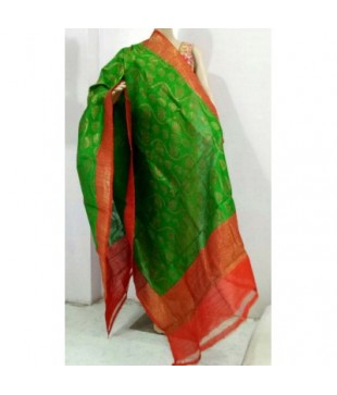 Green Dupion Silk Banarasi Handloom Duppatta