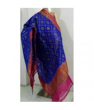 Blue Dupion Silk Banarasi Handloom Duppatta