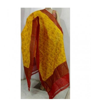 Yellow Dupion Silk Banarasi Handloom Duppatta