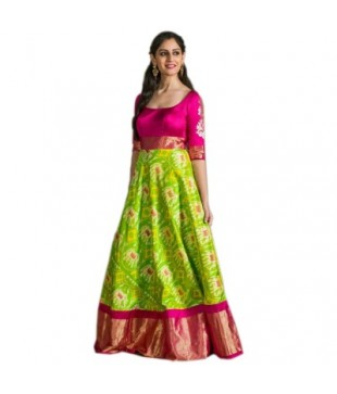 Silk Ikkat Designed UnStitched Handloom Lehenga Choli