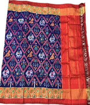 Blue Silk Printed Ikkat Handloom Duppatta