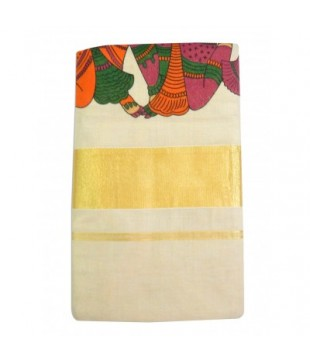 Cotton Hand Printed Devangapuram Handloom Saree