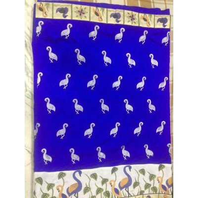 Vidya Blue Art Dupion Silk Embroidered Saree