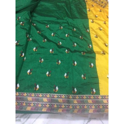 Vidya Green Art Dupion Silk Embroidered Saree