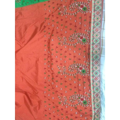 Vidya Peach Art Dupion Silk Embroidered Saree