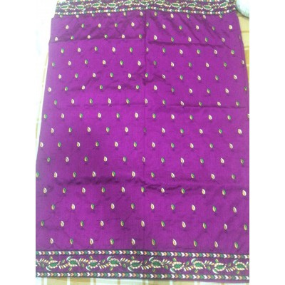 Vidya Violet Art Dupion Silk Embroidered Saree