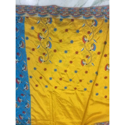 Vidya Yellow Art Dupion Silk Embroidered Saree