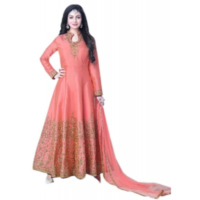 Rutu Fab Peach Silk Embroidered Semi -Stitched Anarkali Dress Material