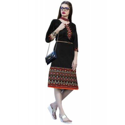 Rutu Fab Black Cotton Embroidered Straight Kurta
