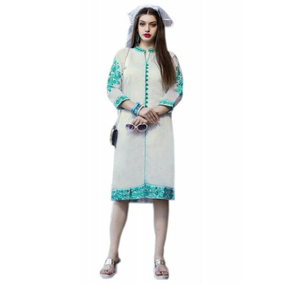 Rutu Fab Off White Cotton Embroidered Straight Kurta