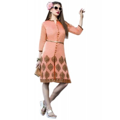 Rutu Fab Peach Cotton Embroidered Straight Kurta