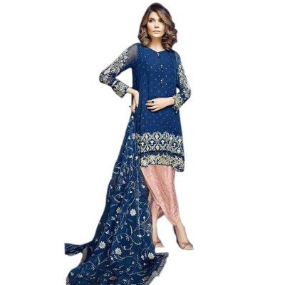 Rutu Fab Blue Supernet Embroidered Semi-Stitched Dress Material