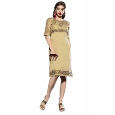 Rutu Fab Gold Cotton Embroidered Straight Kurta