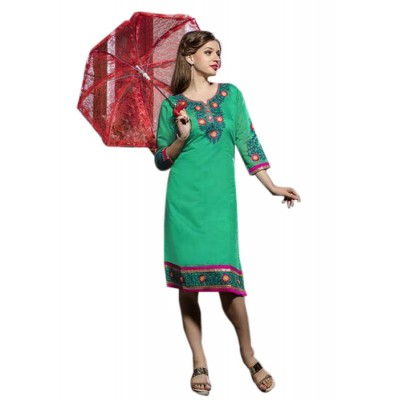 Rutu Fab Sea Green Cotton Embroidered Straight Kurta