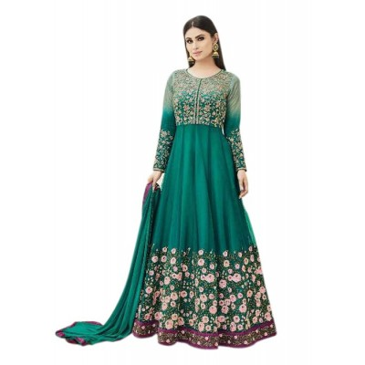Rutu Fab Green Silk Embroidered Semi -Stitched Anarkali Dress Material