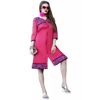 Rutu Fab Pink Cotton Embroidered Straight Kurta