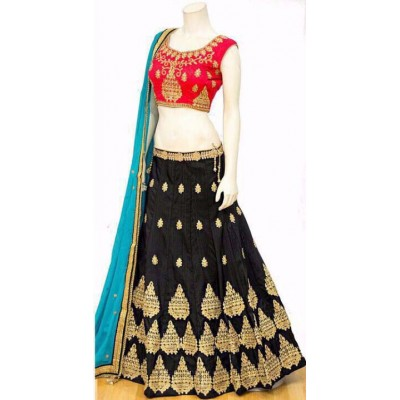 Rutu Fab Black Chennai Silk Embroidered Semi-Stitched Lehenga Choli