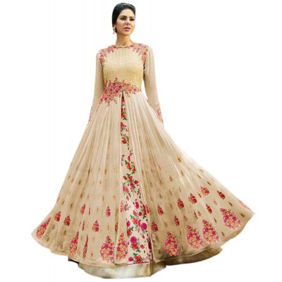Rutu Fab Cream Georgette Embroidered Semi-Stitched Dress Material