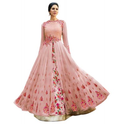 Rutu Fab Light Pink Georgette Embroidered Semi-Stitched Dress Material