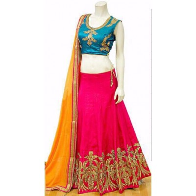 Rutu Fab Pink Banarasi Silk Embroidered Semi-Stitched Lehenga Choli