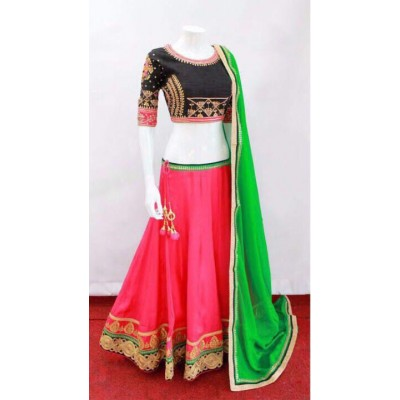 Rutu Fab Pink Bridal Silk Embroidered Semi-Stitched Lehenga Choli