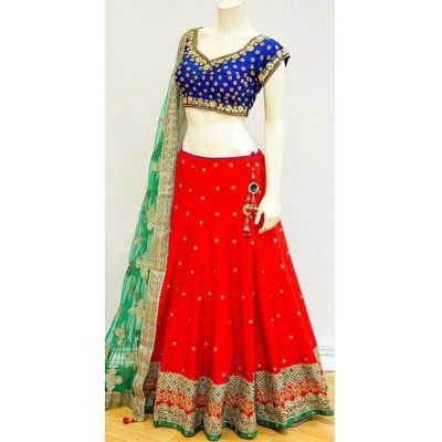 Rutu Fab Red Chennai Silk Embroidered Semi-Stitched Lehenga Choli