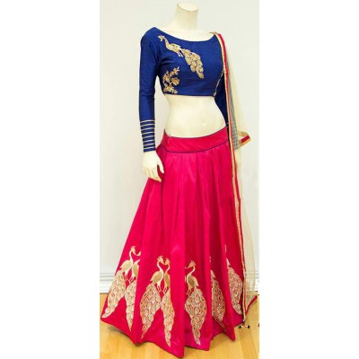 Rutu Fab Rose Dori Silk Embroidered Semi-Stitched Lehenga Choli