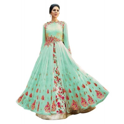 Rutu Fab Sea Green Georgette Embroidered Semi-Stitched Dress Material