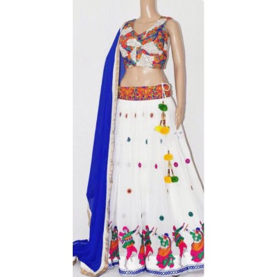 Rutu Fab White Faux Georgette Embroidered Semi-Stitched Lehenga Choli