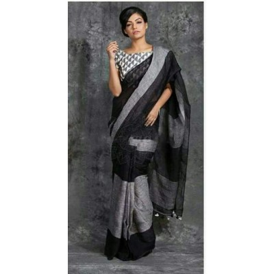 Handloom Plus Black Linen Saree