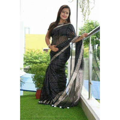 Handloom Plus Black Linen Zari Bordered Saree