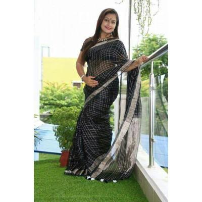 Handloom Plus Black Linen Zari Bordered Saree