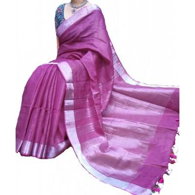 Handloom Plus Rose Linen Zari Bordered Saree