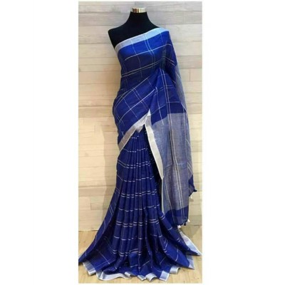 Handloom Plus Navy Blue Linen Zari Bordered Saree