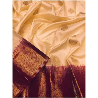 Saigje Cream Silk Maheshwari Handloom Saree