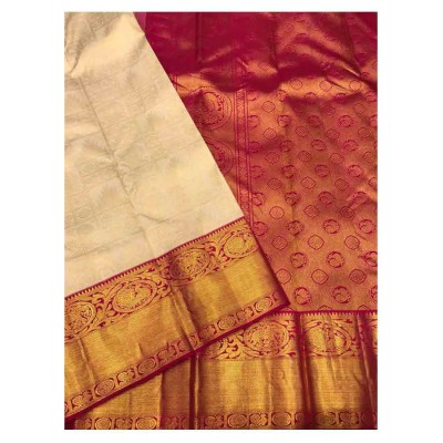 Saigje Cream Silk Kanchipuram Handloom Saree