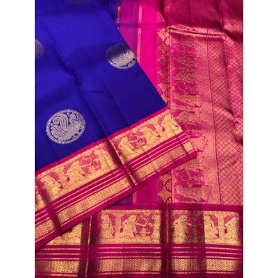 Saigje Dark Blue Silk Kanchipuram Handloom Saree