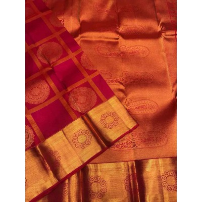 Saigje Magenta Silk Kanchipuram Handloom Saree