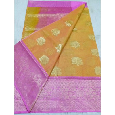 Soummya Creation Beige Kora Silk Zari Worked Banarasi Handloom Saree